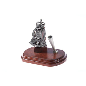 The Royal Australian Army Ordnance Corps Single Desk Set & Pen Holder (RAAOC)-Buckingham Pewter