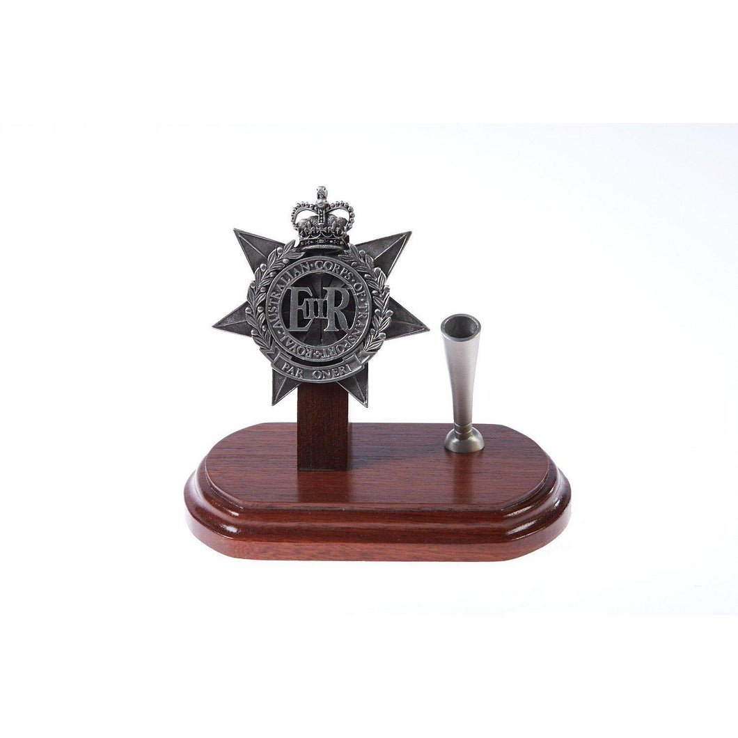 The Royal Australian Corps of Transport Single Desk Set & Pen Holder (RACT)-Buckingham Pewter