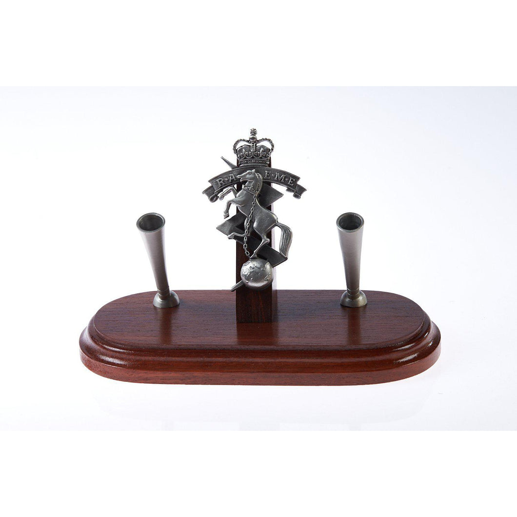 The Royal Australian Corps of Electrical and Mechanical Engineers Double Desk Set & Pen Holder (RAEME)-Buckingham Pewter