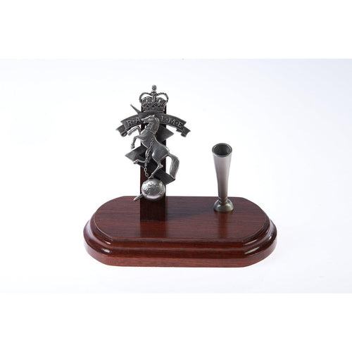 The Royal Australian Corps of Electrical and Mechanical Engineers Single Desk Set & Pen Holder (RAEME)-Buckingham Pewter