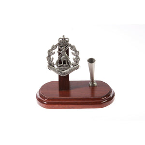 Royal Australian Regiment Single Desk Set & Pen Holder (RAR)-Buckingham Pewter