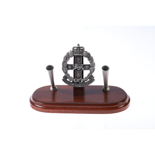 The Royal New South Wales Regiment Double Desk Set & Pen Holder (RNSWR)-Buckingham Pewter