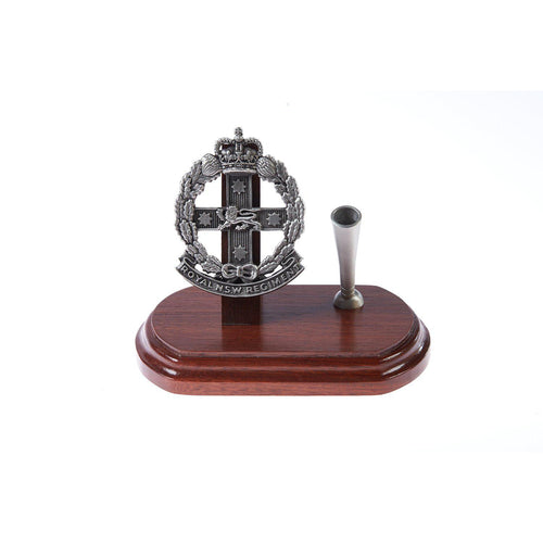 The Royal New South Wales Regiment Single Desk Set & Pen Holder (RNSWR)-Buckingham Pewter