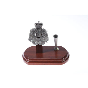 The Royal Queensland Regiment Single Desk Set & Pen Holder (RQR)-Buckingham Pewter