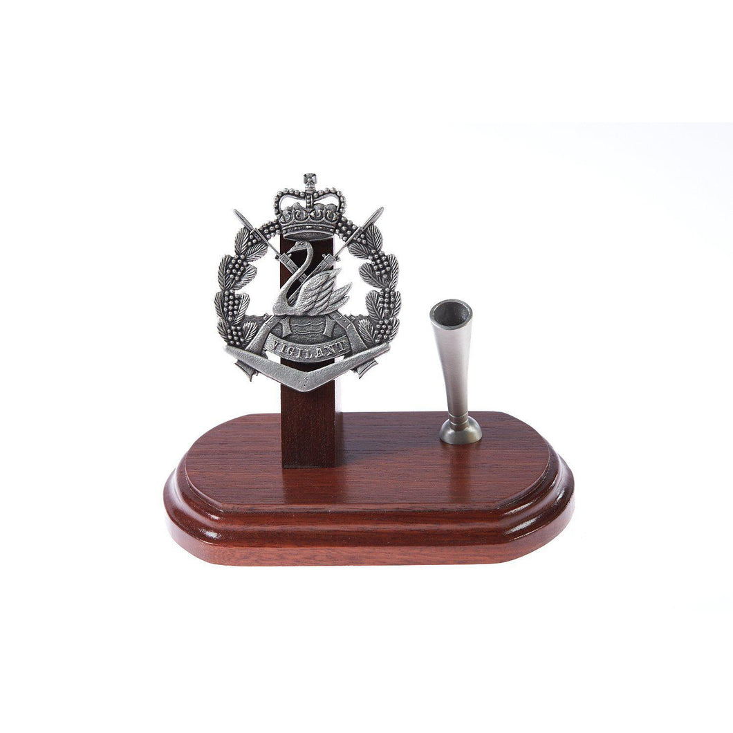 The Royal Western Australian Regiment Single Desk Set & Pen Holder (RWAR)-Buckingham Pewter
