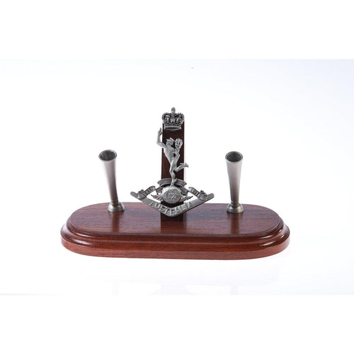 The Royal Australian Corps of Signals Double Desk Set & Pen Holder (RASigs)-Buckingham Pewter