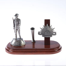 Load image into Gallery viewer, The Australian Rising Sun Desk Set, Pen Holder & A001 Digger Figurine - Buckingham Pewter