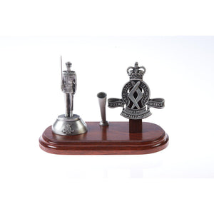The Royal Military College, Duntroon, Desk Set with Pen Holder & B109 Figurine-Buckingham Pewter