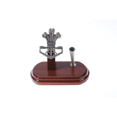The 4th/19th Prince of Wales's Light Horse Regiment Single Desk Set & Pen Holder-Buckingham Pewter