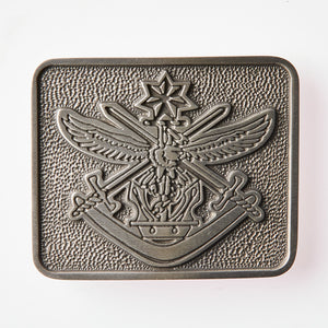 Tri Service Pewter Belt Buckle