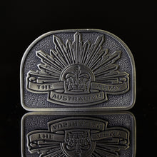 Load image into Gallery viewer, The Australian Rising Sun Pewter Belt Buckle - Buckingham Pewter
