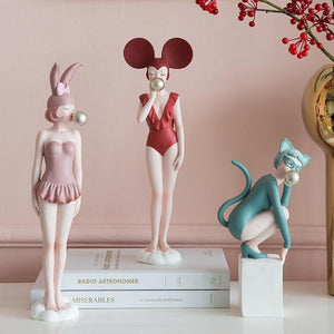 Simple Modern Creative Modern Young Girl Figure Art Sculpture Modern Girl Statue Resin Crafts Home Decoration Wedding Gift R4156