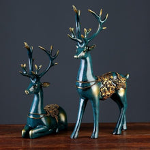 Load image into Gallery viewer, European style 2 Pcs Resin Deer Figurine Statue Home Living Room Decor Crafts Sculpture Creative Gifts Modern Desktop Ornament