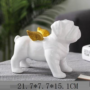 French Bulldog Statue Animals Golden Wings Black Dog Art Sculpture Ceramics Craft Nordic Modern Home Decor Ornament R4312