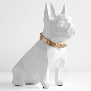European Style Geometry French Bulldog Resin Statue Money Box Creative Home Decor Coin Storage Box Child Gift Piggy Bank WX3