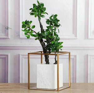 Natural Stone Marble Vase Gold/metal Frame Table Top Luxury Vase Sample Room Luxury Design Vase Flower Pots