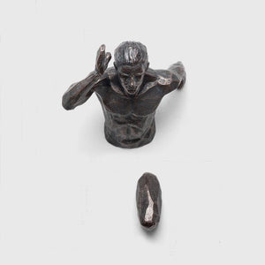 Creative Industrial Style Running Sculpture Resin Living Room Background Wall Decoration Hanging Run Figure Statue Sports Man