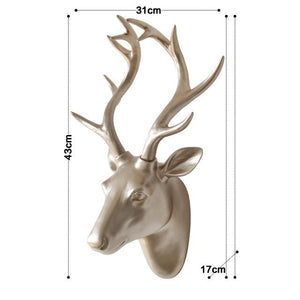 Original European Animal Deer Head Antelope Hanging Stereo Creative Living Room Mural Wall Background Decoration Resin Craft