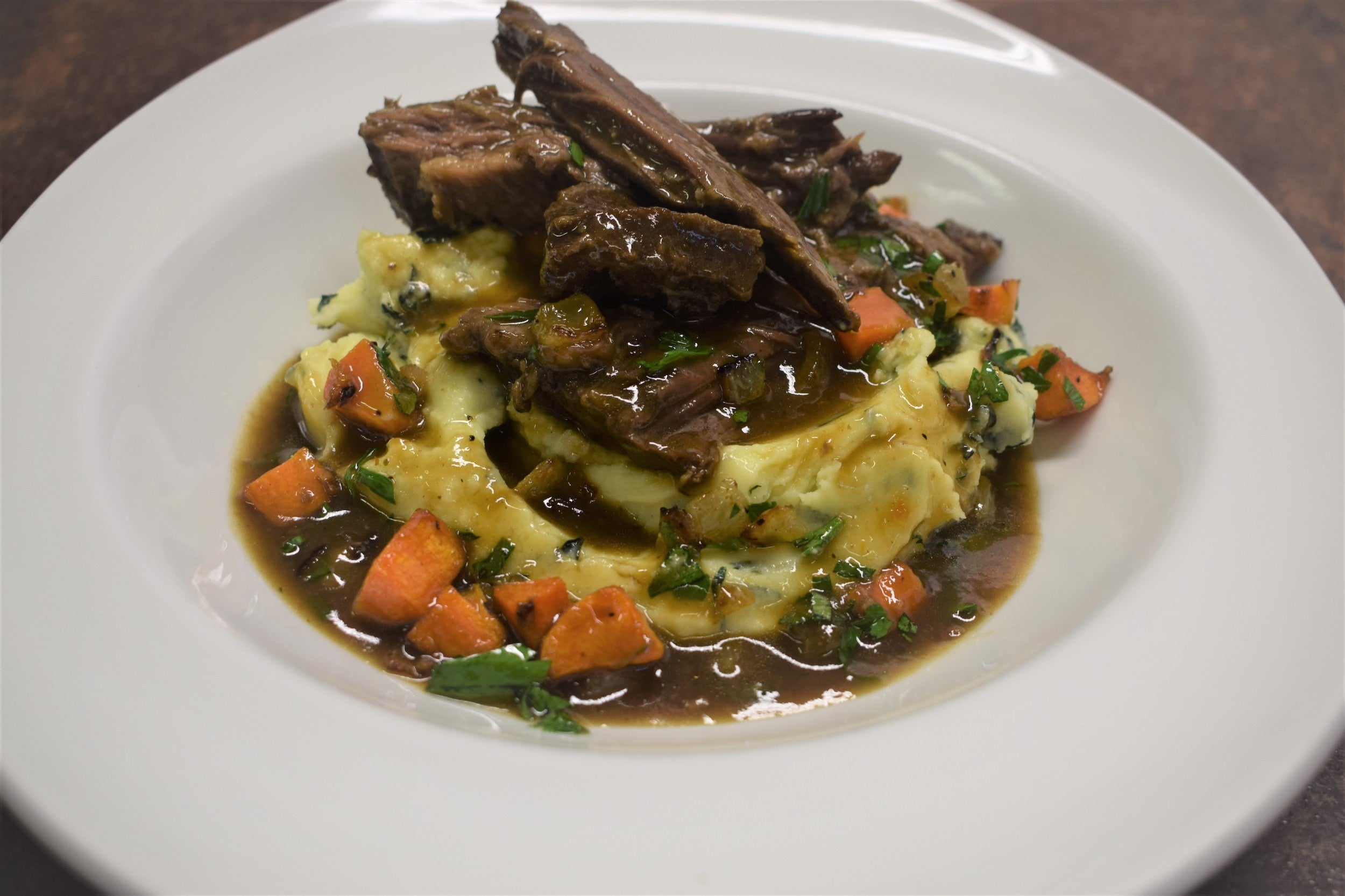 Slow cooked beef brisket with colcannon potatoes