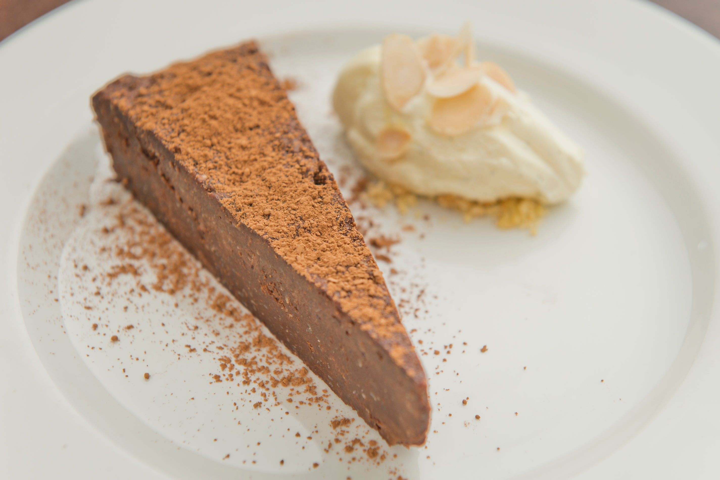 Chocolate & almond torte with crème fraiche (V) (GF)