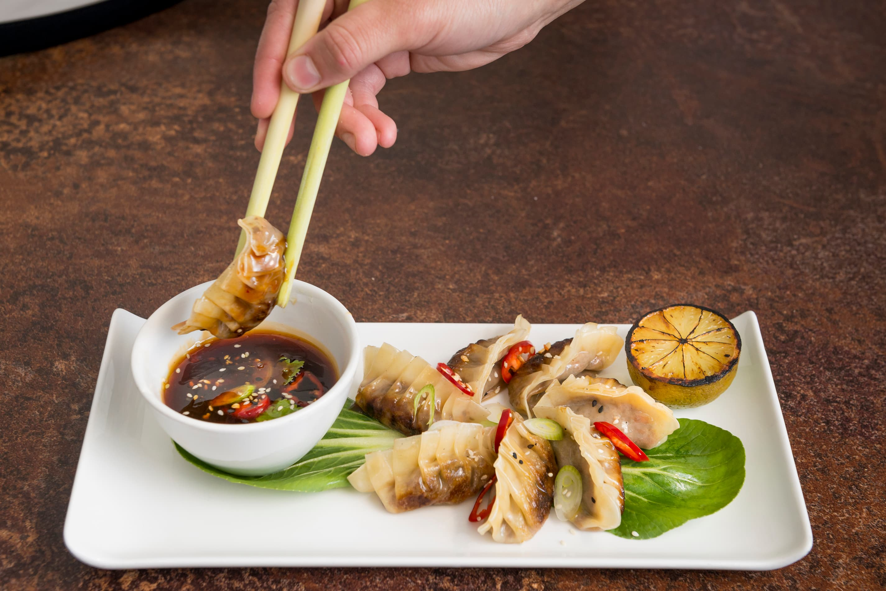 Vegetable gyoza with soy chilli dipping sauce for one or two to share (V)