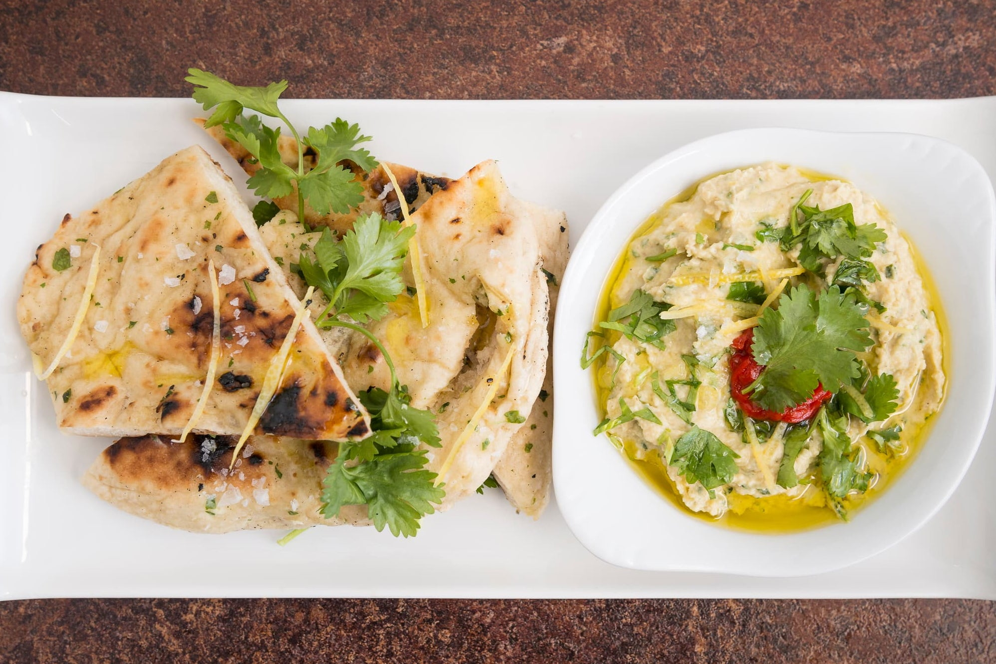 Lemon & coriander hummus with handmade flat bread to share for 2 people (VE)