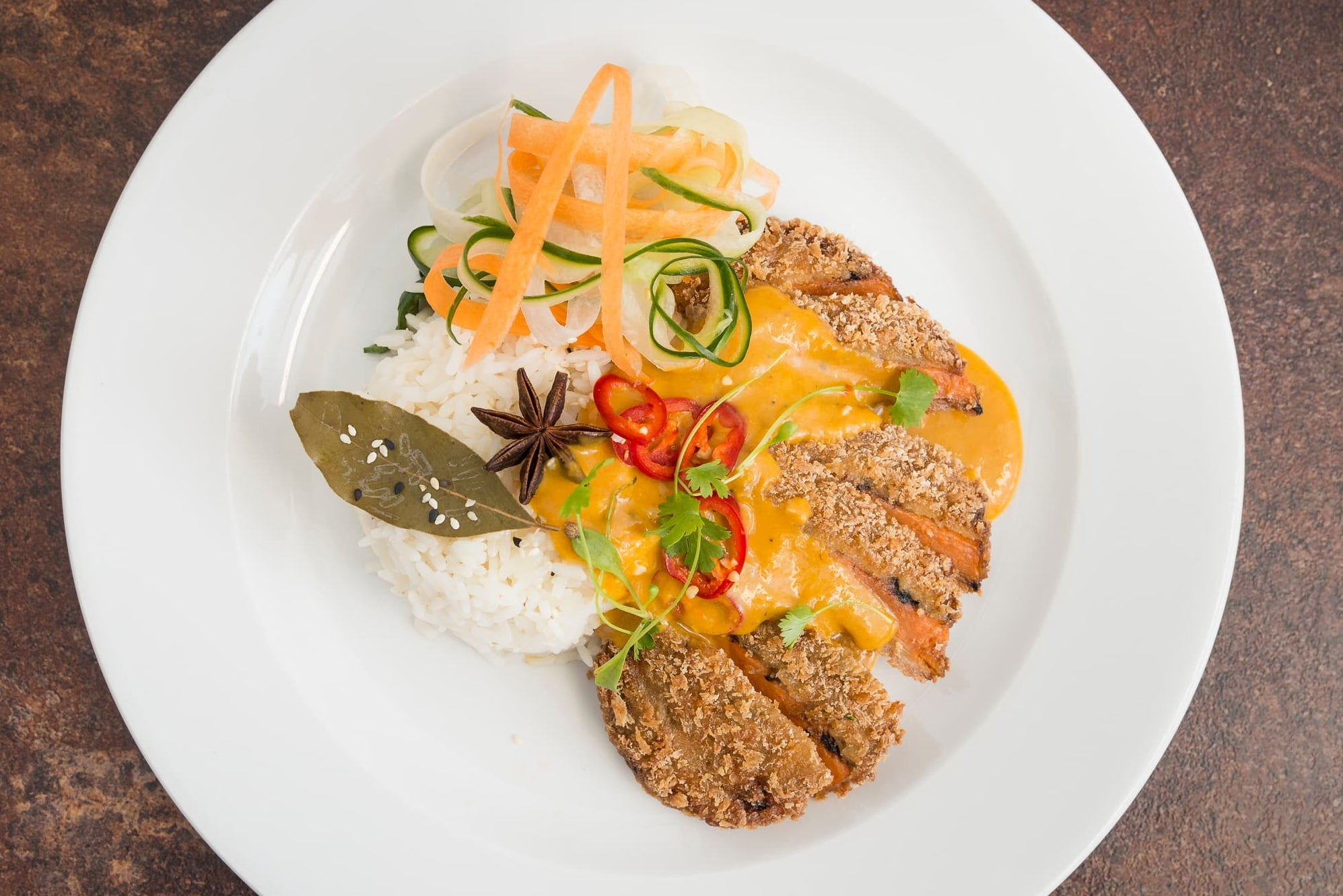 Sweet potato Katsu curry & steamed rice (VG)