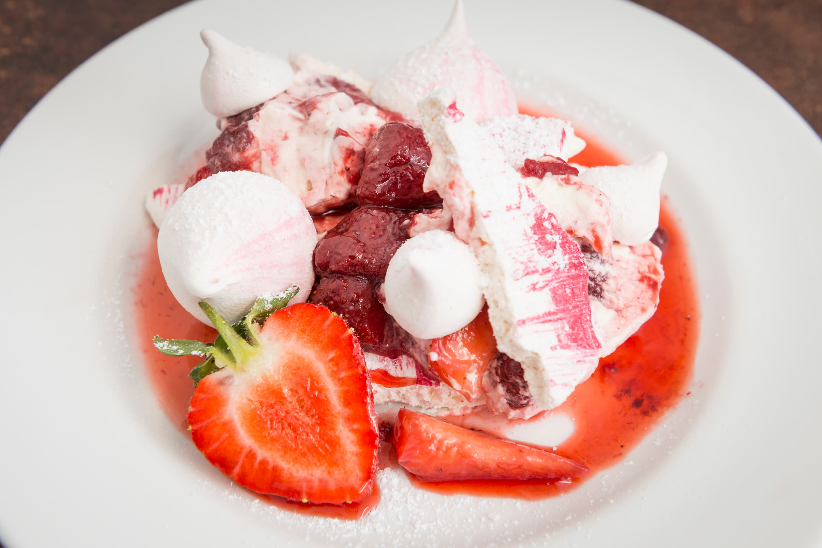Eton mess with fresh strawberries for one or two to share (V)