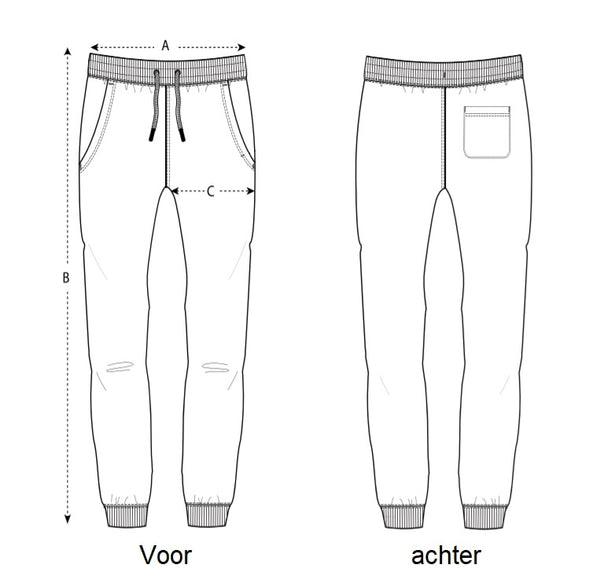 joggingbroek maattabel