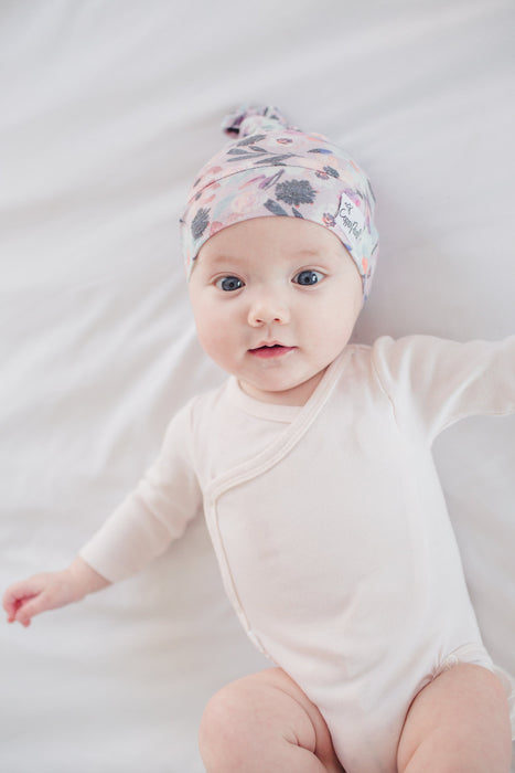 Copper Pearl Newborn Top Knot Hat - Morgan