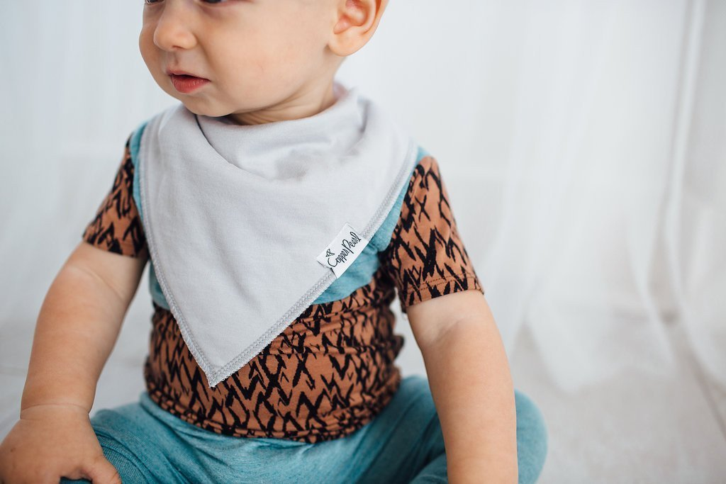 Baby Bandana Bibs - Grey Basics - Copper Pearl - 6