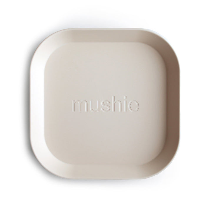 Mushie Square Dinnerware Plates, Set of 2 (Ivory)