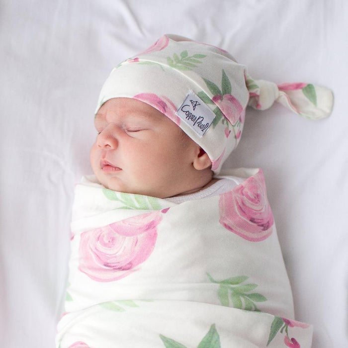 Copper Pearl Newborn Top Knot Hat - Grace