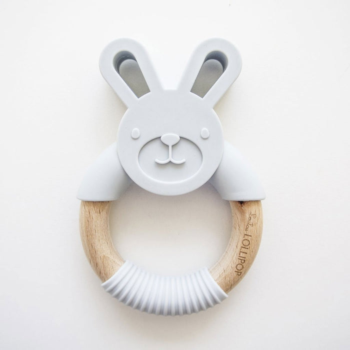 Loulou Lollipop Bunny Silicone + Wood Teething Ring