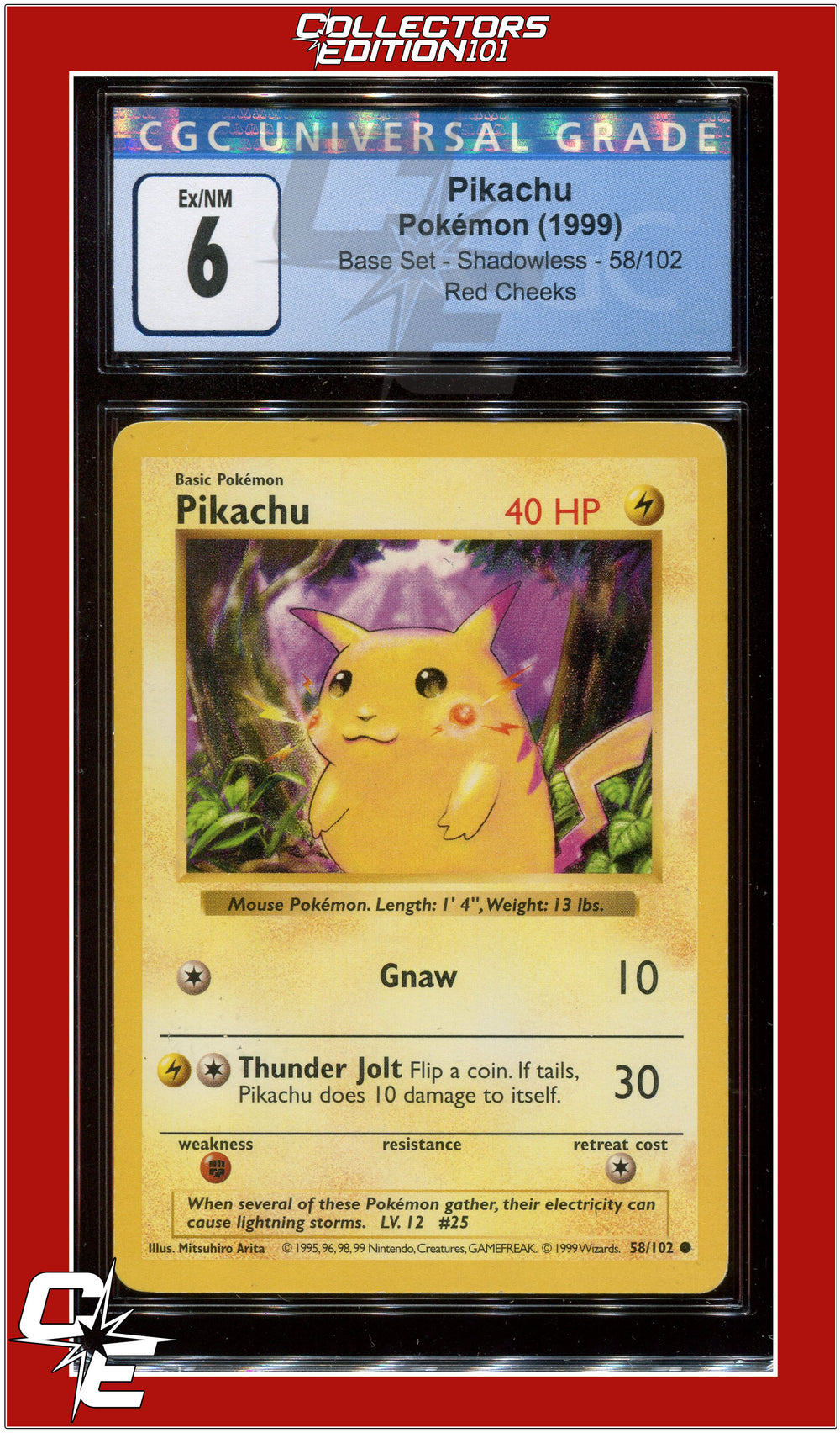 Base Set Shadowless Pikachu Red Cheeks 58/102 CGC 6 - PSA BGS