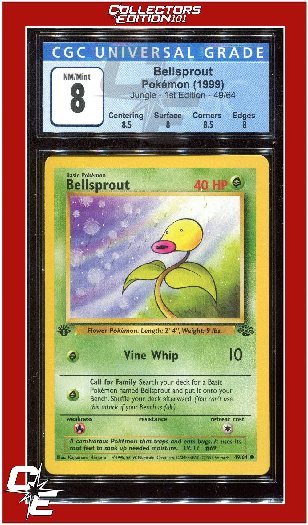 Jungle 1st Edition Bellsprout 49/64 CGC 8 - PSA BGS