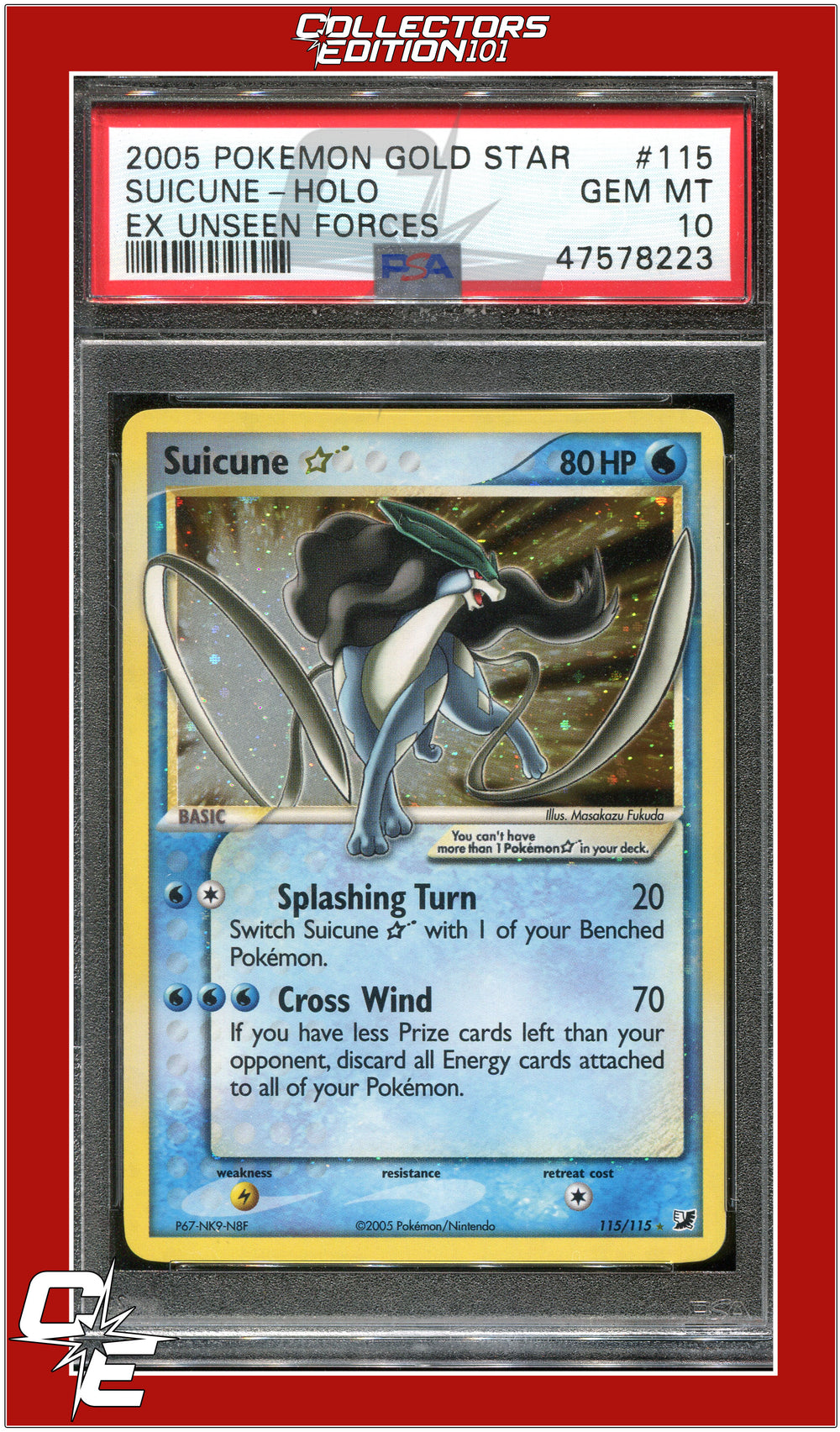 EX Unseen Forces 115 Suicune Holo Gold Star PSA 10