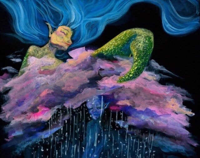 Mermaid Surreal original painting art