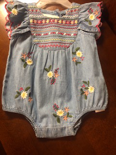 Blu and Blue Denim Flora Bubble Romper with lots of detailed embroidery