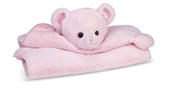 Bearington Baby Pink Huggie Bear Belly Blanket