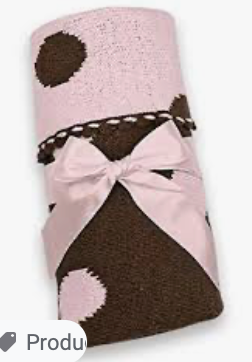 Bearington Baby Receiving Blanket Pink/Brown