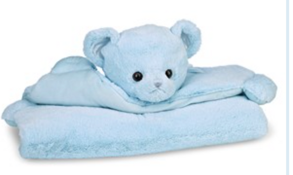 Bearington Baby Blue Huggie Bear Belly Blanket