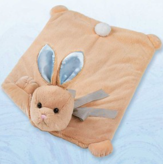 Bearington Baby Blue Bunny Tail Belly Blanket