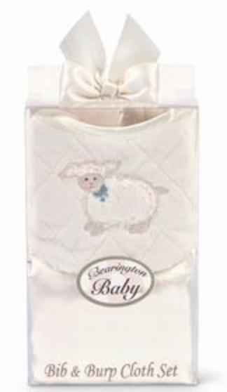 Bearington Lamby Lamb Bib & Burp Pad