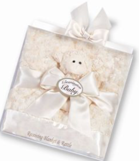 Bearington Baby Lamby Lamb Receiving Blanket & Rattle