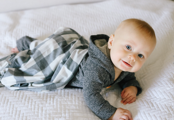 Copper Pearl Swaddle-Black/White Check