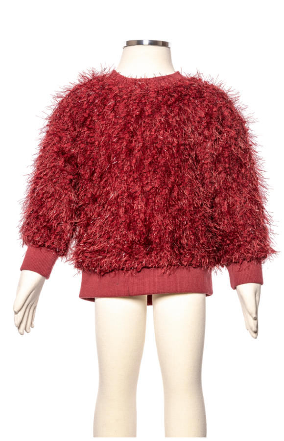 ML Kids Little Girl and Big Girl Red Fuzzy Sweater