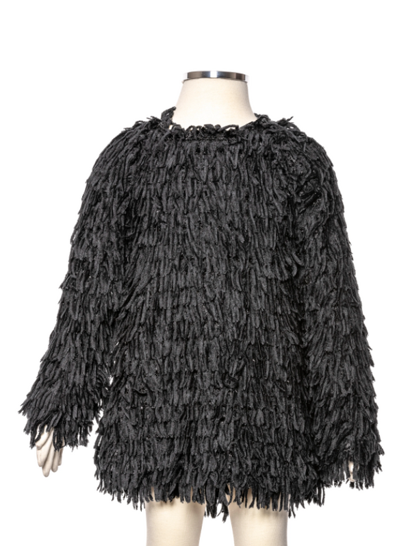 ML Kids Little Girl and Big Girl Black Shaggy Black Tunic
