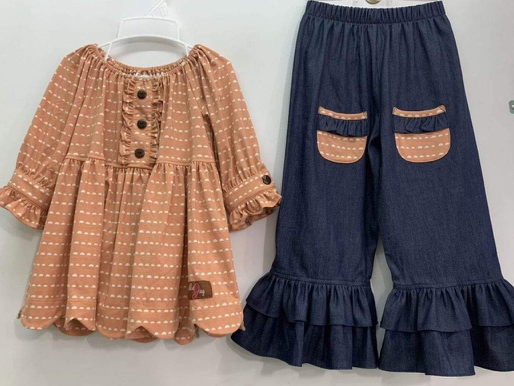Millie Jay Chambray & Nutmeg Scalloped 2pc. for Toddler Girls-Tweens
