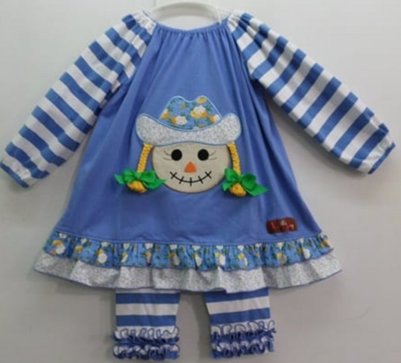 Millie Jay Scarecrow Applique Dress & Leggings Sizes for Toddler Girl, Little Girls and Tweens